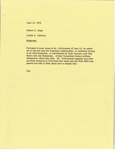 Thumbnail of Memorandum from Judy A. Chilcote to Bob Happ