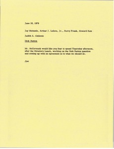 Thumbnail of Memorandum from Judy A. Chilcote to Jay Michaels, Arthur J. Lafave, Barry Frank and Howard Katz
