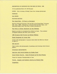 Thumbnail of Description of contents for the issue of spring, 1980