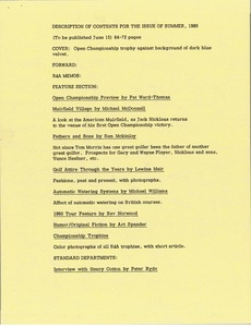 Thumbnail of Description of contents for the issue of summer, 1980
