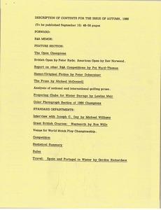 Thumbnail of Description of contents for the issue of autumn, 1980