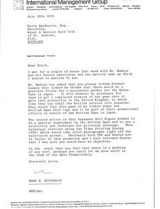 Thumbnail of Letter from Mark H. McCormack to Keith MacKenzie