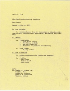 Thumbnail of Memorandum from Hans Kramer to Cleveland Administrative Committee