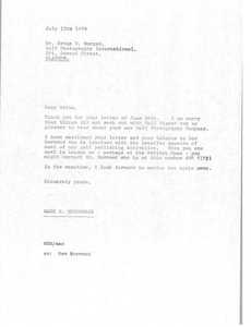 Thumbnail of Letter from Mark H. McCormack to Brian D. Morgan
