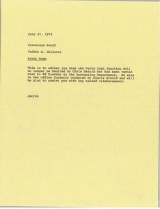 Thumbnail of Memorandum from Judith A. Chilcote to Cleveland staff