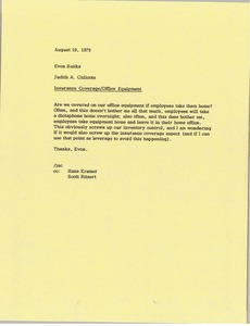 Thumbnail of Memorandum from Judy A. Chilcote to Evon Banks