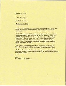 Thumbnail of Memorandum from Judy A. Chilcote to Jan Steinmann