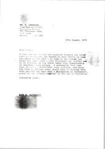 Thumbnail of Letter from Mark H. McCormack to Chris Lewinton
