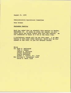 Thumbnail of Memorandum from Hans Kramer to administrative operational committee