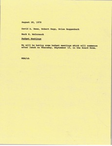 Thumbnail of Memorandum from Mark H. McCormack to David A. Rees, Bob Happ and Brian Roggenburk