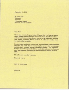Thumbnail of Letter from Mark H. McCormack to Paul Pare