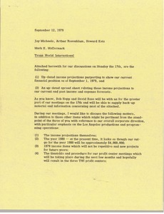 Thumbnail of Memorandum from Mark H. McCormack to Jay Michaels, Arthur Rosenblum, and Howard             Katz