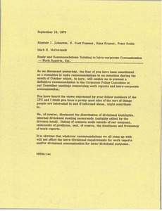 Thumbnail of Memorandum from Mark H. McCormack to Alastair J. Johnston, H. Kent Stanner, Hans         Kramer, Peter Smith