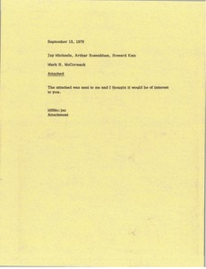 Thumbnail of Memorandum from Mark H. McCormack to Jay Michaels, Arthur Rosenblum, Howard Katz
