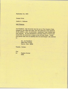 Thumbnail of Memorandum from Judith A. Chilcote to Jaque Orsie