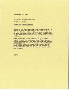 Thumbnail of Memorandum from Judith A. Chilcote to Cleveland secretarial staff