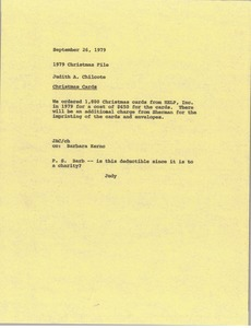 Thumbnail of Memorandum from Judith A. Chilcote to 1979 Christmas file