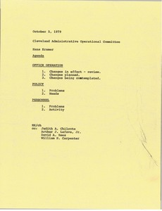 Thumbnail of Memorandum from Hans Kramer to Cleveland administrative operational committee