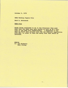 Thumbnail of Memorandum from Mark H. McCormack to United States Golf Association working papers file