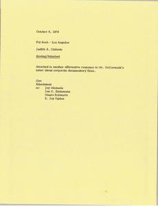 Memorandum from Judy A. Chilcote to Patricia L. Sosh