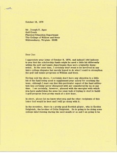 Thumbnail of Letter from Mark H. McCormack to Joe Agee