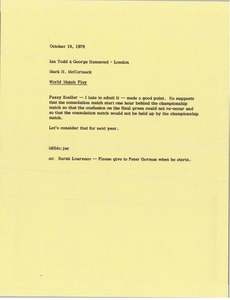 Thumbnail of Memorandum from Mark H. McCormack to Ian Todd and George Hammond