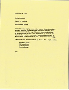 Thumbnail of Memorandum from Judith A. Chilcote to Kathy Moehring
