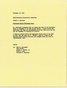 Thumbnail of Memorandum from Judith A. Chilcote to the Administrative Operational Committee