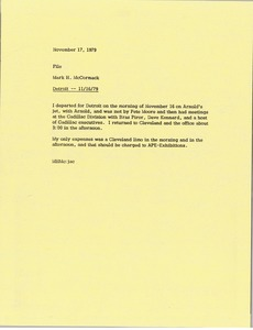 Thumbnail of Memorandum from Mark H. McCormack concerning his trip to Detroit on November 11, 1979