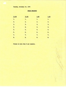 Thumbnail of Sign-up sheet for Telex printouts training