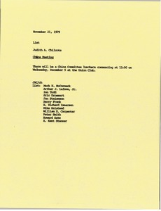 Thumbnail of Memorandum from Judith A. Chilcote concerning the China Meeting