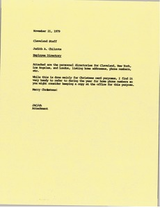 Thumbnail of Memorandum from Judith A. Chilcote to the Cleveland Staff