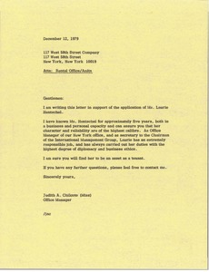 Thumbnail of Letter from Judith A. Chilcote to Anita rental office