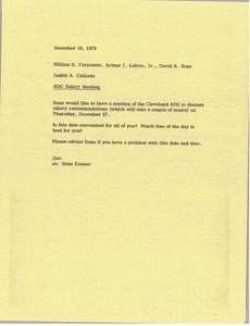 Thumbnail of Memorandum from Judith A. Chilcote to William H. Carpenter, Arthur J. Lafave,             David A. Rees