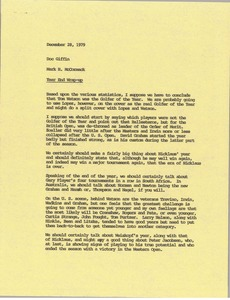 Thumbnail of Memorandum from Mark H. McCormack to Doc Giffin