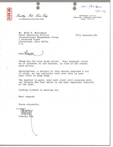 Thumbnail of Letter from Timothy Fok Tsun-Ting to Mark H. McCormack