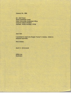 Thumbnail of Letter from Mark H. McCormack to Bill Foster