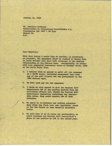 Thumbnail of Letter from Mark H. McCormack to Mauricio Urdaneta