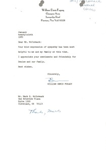 Thumbnail of Letter from William Denis Fugazy to Mark H. McCormack
