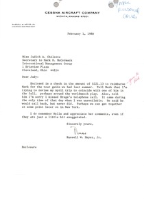 Thumbnail of Letter from Russel W. Meyer to Judy A. Chilcote