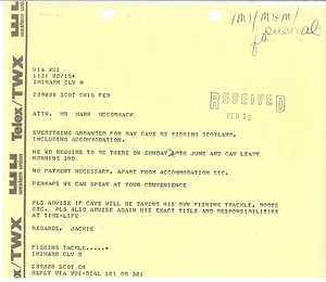 Thumbnail of Telex printouts from Jackie to Mark H. McCormack