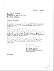 Thumbnail of Letter from William M. Matthes to Mark H. McCormack