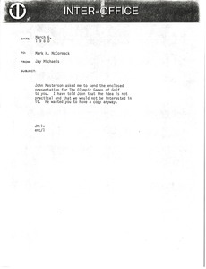Thumbnail of Memorandum from Jay Michaels to Mark H. McCormack