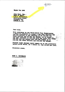 Thumbnail of Letter from Mark H. McCormack to Alan Hart