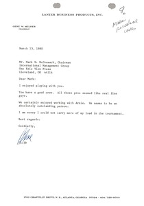 Thumbnail of Letter from Gene W. Milner to Mark H. McCormack
