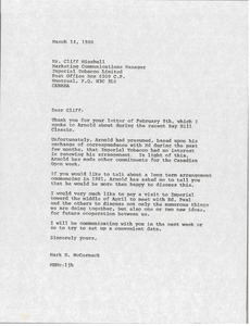 Thumbnail of Letter from Mark H. McCormack to Cliff Minshull