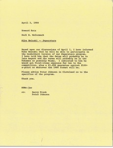 Thumbnail of Memorandum from Mark H. McCormack to Howard Katz