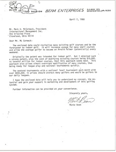 Thumbnail of Letter from Beam Enterprises to Mark H. McCormack