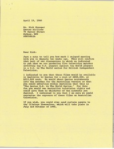Thumbnail of Letter from Mark H. McCormack to Rick Granger