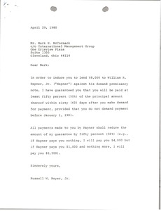 Thumbnail of Letter from Russell W. Meyer to Mark H. McCormack